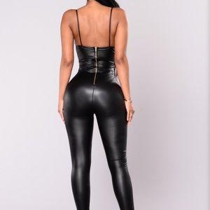 Fashion Nova Faux Leather Jumpsuit